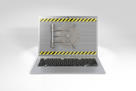 Laptop with a safe lock. Data security and privacy concept.  Photo-realistic illustration. illustration