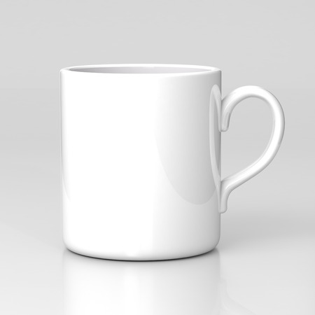 mock up: White coffee mug on gray background. Black template.