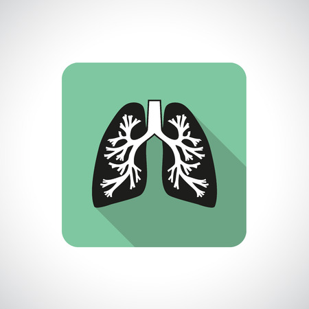 Lungs, square icon. Flat modern design with long shadow.