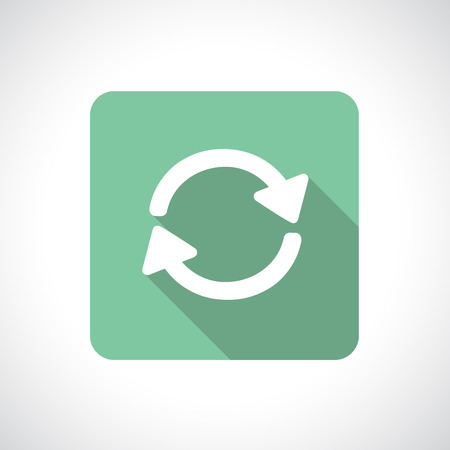 preloader: Recycle icon. Pre-loader icon. Square pictogram. Flat modern design with long shadow. Illustration