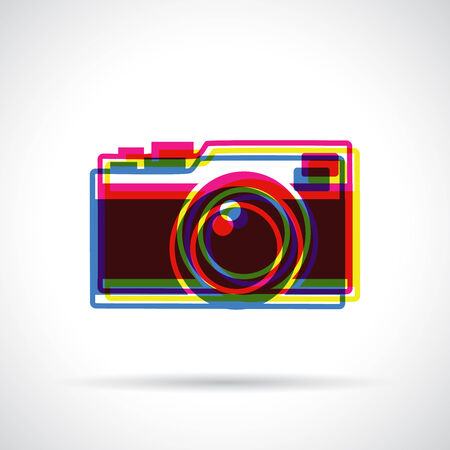 anaglyph: Hipster camera icon. Anaglyph 3d colors. Flat modern design. Illustration