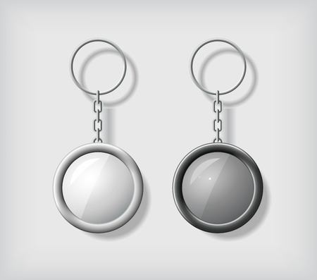 key ring: Two key chain pendants mockup, in black and white