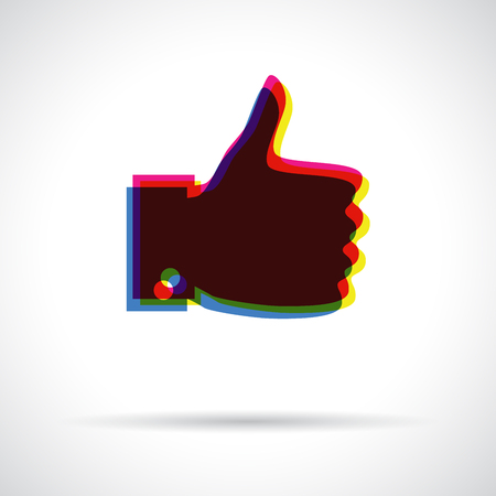 Thumb up icon. Anaglyph 3D symbol with shadow. Approval concept. Vector