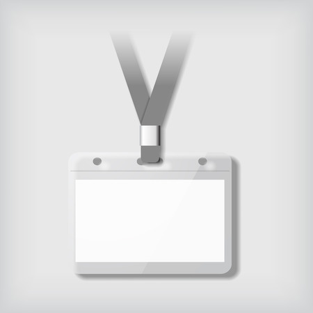 Badge template, glossy identification card with lanyard. Vector