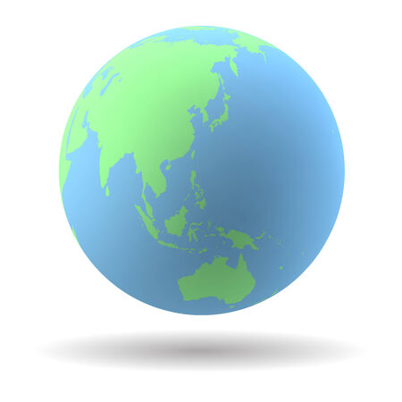 oceania: Highly detailed Earth globe with Australia, New Zealand and Oceania
