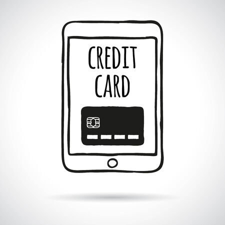 Doodle touch pad with credit card. Shopping and paying online and web shop concept.