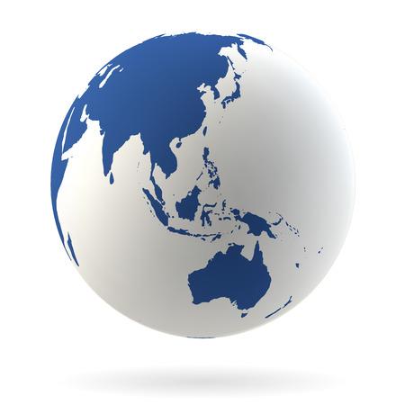 zeměkoule: Velmi podrobné Země světa s Austrálií, Novým Zélandem a Oceánii Ilustrace