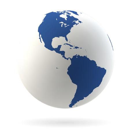 wereldbol: Zeer gedetailleerde Earth wereldbol met Noord-Amerika en Zuid-Amerika Stock Illustratie