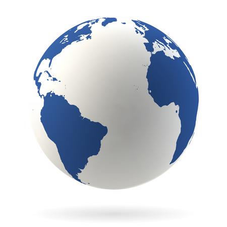 대서양 매우 상세한 지구 글로브 일러스트