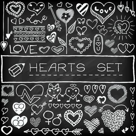 Doodle set of hearts and arrows with chalkboard effect. Deisgn elements for weeding invitations, Valentines Day cards etc. Illustration