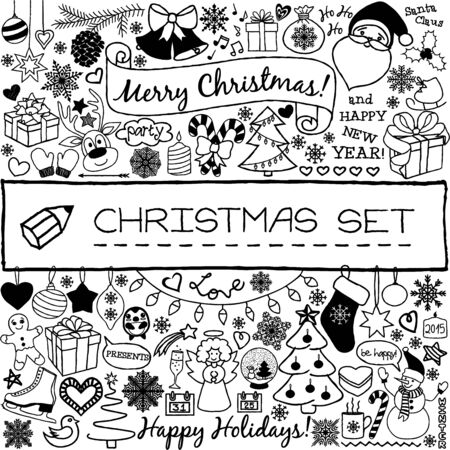 Doodle Christmas season icons and vintage graphic elements. Santa Claus, Rudolph the reindeer, snow man, cute Christmas decorations, presents, snow flakes, stars etc. Scrapbooking and infographics. Vettoriali