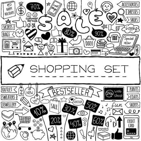 gift basket: Shopping doodle set. Hand drawn icons collection with discount tags, computer, laptop, smartphone, basket, gift box, hearts, stars and banners. Online shopping, holiday and Christmas sale concept. Illustration