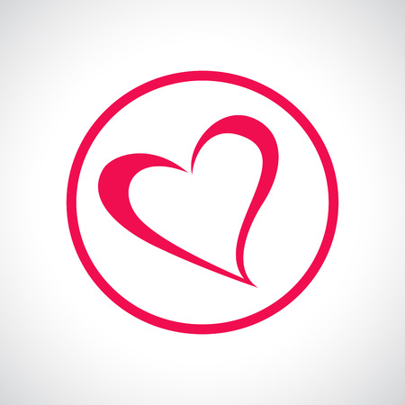 Heart icon. Pink flat symbol in a circle. Design element for Valentine\'s Day, wedding, baby shower, birthday card etc. Vector illustration.