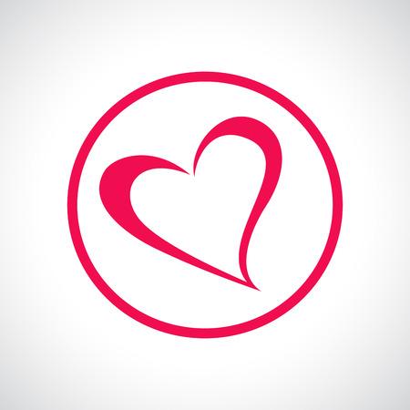corazon humano: Icono del coraz�n. S�mbolo plana rosa en un c�rculo. Elemento de dise�o para d�a de San Valent�n, boda, baby shower, tarjeta de cumplea�os, etc Ilustraci�n vectorial.
