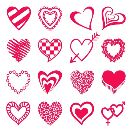 Set of heart shaped icons. Design elements for Valentines day, wedding or baby shower invitation, scrapbooking etc. Vector illustration Vector