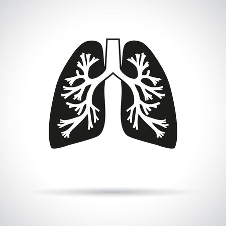 bronchial: Lungs, round icon. Flat modern design with shadow.