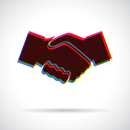 anaglyph: Handshake icon. Anaglyph 3D symbol with shadow. Approval concept. Illustration