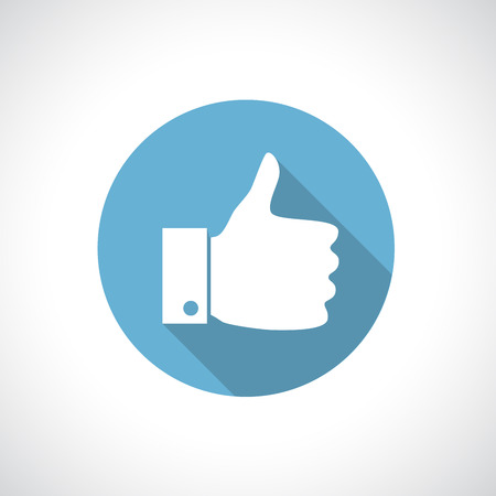 thumbs up: Thumb up icon with shadow. Round icon. Flat modern design.