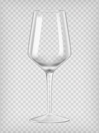 空のワイングラス。透明のリアルなベクター イラストです。