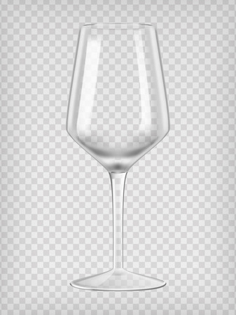 glass reflection: Empty wine glass. Transparent realistic vector illustration.