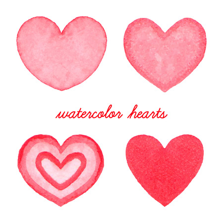 Watercolor hearts set. Hand drawn abstract art. Design element for Valentines Day, wedding, baby shower, birthday card etc. Vector illustration Vector