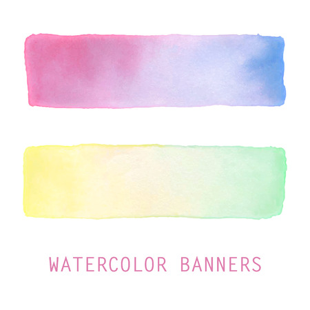 Watercolor gradient banners set. Hand drawn abstract art. Soft pastel nautical colors of the sea. Creative design elements for website, printables, scrapbooking and more.