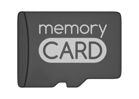 MicroSD memory card. Top view. Isolated on white. photo