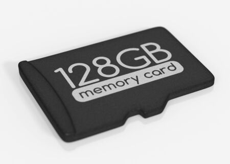 gb: MicroSD memory card. 128 GB. Top view. Isolated on white.