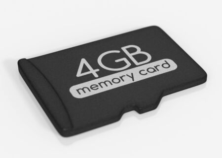 micro drive: MicroSD memory card. 4 GB. Top view. Isolated on white.