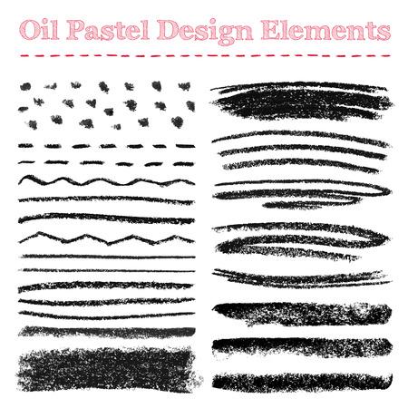 Set of oil pastel brush strokes and design elements. Grunge vector illustration. Illustration