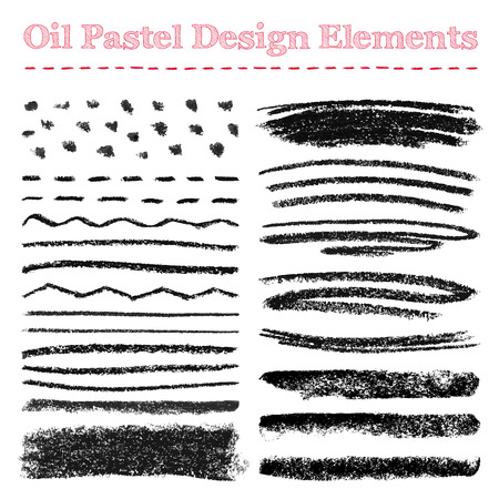 Set of oil pastel brush strokes and design elements. Grunge vector illustration. Stock Illustratie