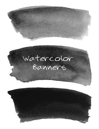 Watercolor black and grey banners set. Hand drawn abstract art. Creative design elements for website, scrapbooking and more. Vector