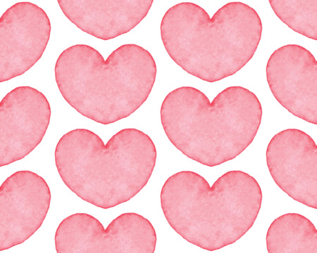 water color: Seamless pattern with water color hearts. Hand drawn abstract art. Design element for Valentines Day, wedding, baby shower, birthday card, scrapbooking etc. Vector illustration Illustration