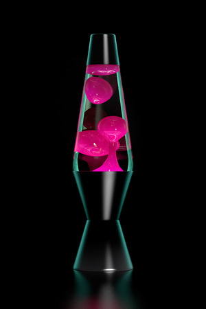 delirious: Pink lava lamp on black background. Dark key.