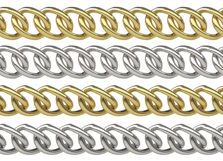 curb: Seamless golden and silver curb chains isolated on white