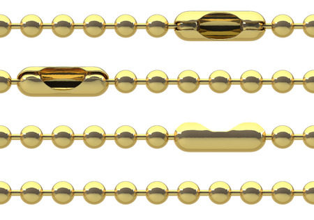 Seamless golden ball chain with lock isolated on white photo