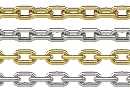 Seamless chain set in gold and silver isolated on white photo