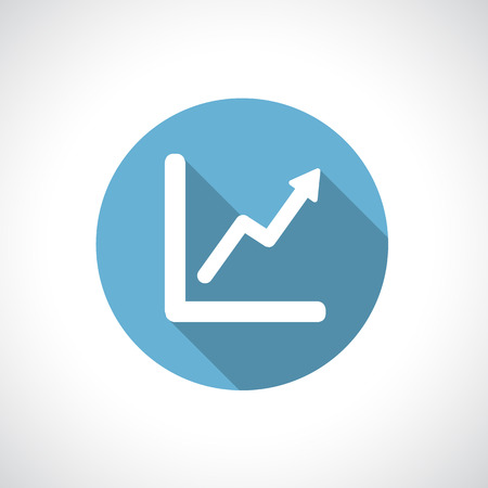 Graph, diagram. White symbol on blue circle with modern round flat icon with shadow. Growth and success concept.