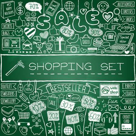 Shopping doodle set. Chalk board effect. Hand drawn icons collection with discount tags, computer, smartphone, gift box, hearts, stars and banners. Online shopping, holiday and season sale concept. Vector