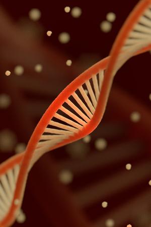macroshot: DNA chain macroshot. Highly detailed 3D render. Dark key. Shallow DOF. Stock Photo