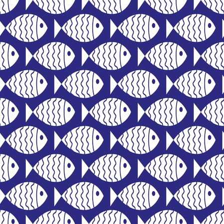 nautical pattern: Seamless nautical pattern with fish. Design element for wallpapers, baby shower invitation, birthday card, scrapbooking, fabric print etc.