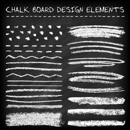 Set of chalk strokes, curved lines, banners and separators.  Handmade design elements on chalkboard background. Grunge vector illustration.