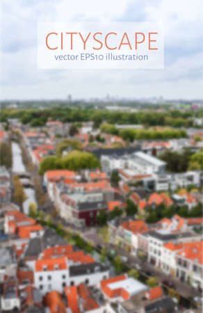 Cityscape blurred image. Birds-eye view. Brochure template. Blurred urban background. Travel and city life concept. Vector illustration.