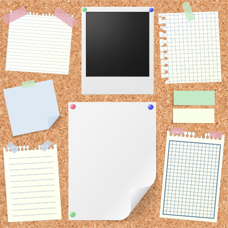 mock up: Post-it set of realistic sticky notes, lined and squared notebook papers, vintage photograph, blank sheet mock-up with pins and stickers. Place for text. Realistic cork board background.