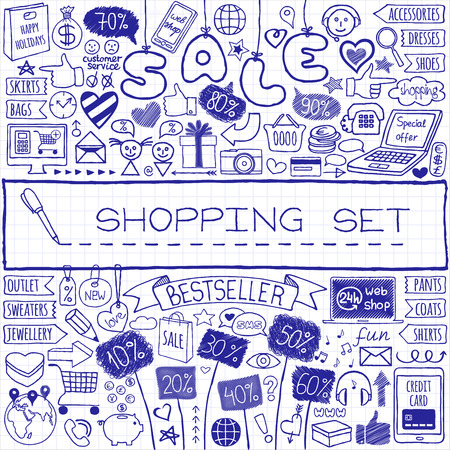 gift basket: Shopping doodle set. Hand drawn icons collection with discount tags, computer, laptop, smartphone, basket, gift box, hearts, stars and banners. Online shopping, holiday and season sale concept.