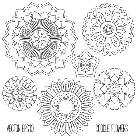 mandala vector: Doodle flowers set. Hand drawn isolated graphic elements. Boho and ethnic style mandala. Decorative art for birthday cards, wedding and baby shower invitations, scrapbooking etc. Vector illustration.