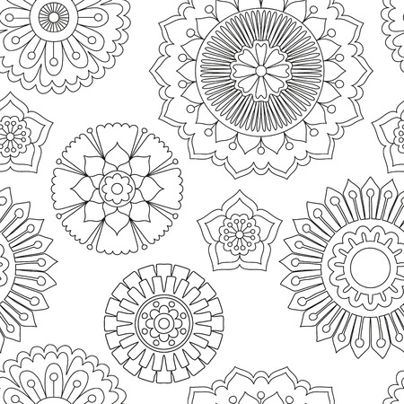 Seamless doodle flowers pattern. Hand drawn tribal concept. Boho and ethnic style mandala. Decorative art for birthday cards, wedding and baby shower invitations, scrapbooking. Vector illustration.