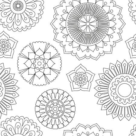 dessin fleur: Seamless fleurs de griffonnage. Hand drawn notion tribale. Boho et mandala de style ethnique. Art d�coratif pour des cartes d'anniversaire, de mariage et les invitations de baby shower, scrapbooking. Vector illustration.