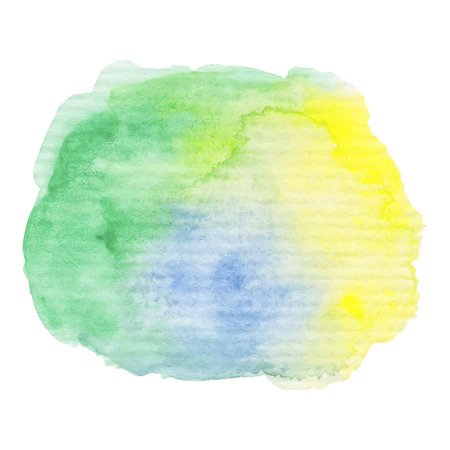 ombre: Hand painted watercolor blob. High resolution high quality. Green and blue bright colors. Abstract spring summer season background. Round graphic design element isolated on white. Vector illustration.