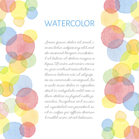Hand painted water color brush stains with text. Cute decorative template. Bright colorful border panels. Great for baby shower invitation, birthday card, scrapbooking etc. Vector illustration.